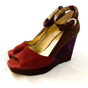 NINE WEST Suede Wedge Platform Sandal